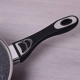 """Сотейник Kamille 26см из литого алюминия с керамическим покрытием """"мрамор"""" и крышкой, фото 5"""