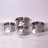 Набор кастрюль Kamille из нержавеющей стали 8 предметов (1.8л, 2.3л, 3.3л, 5.5л), фото 4