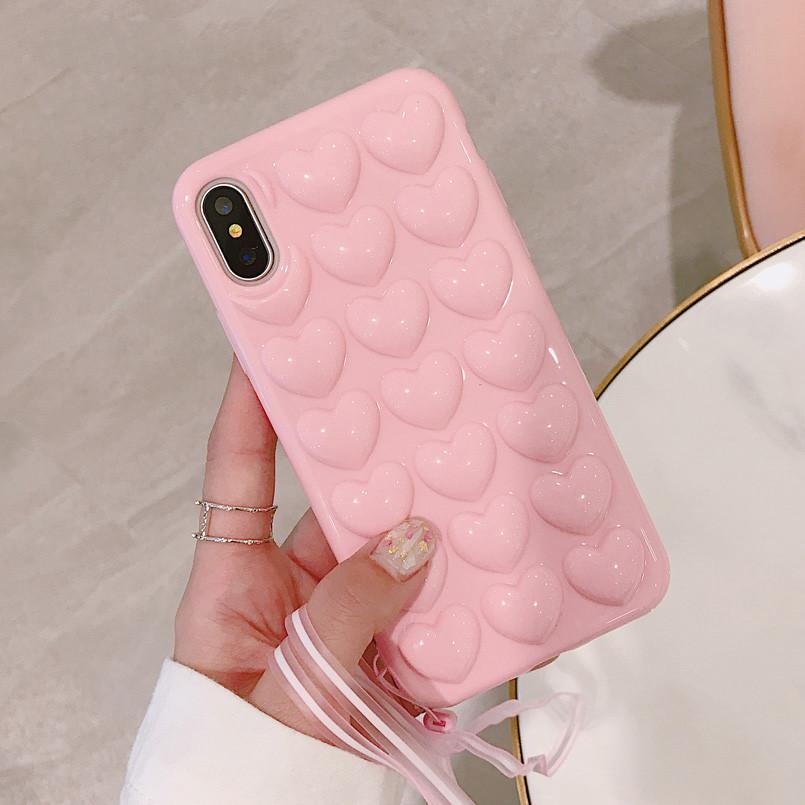 """Защитный чехол """"Сердце"""" для смартфона Apple iPhone 6/6s/6+/7/8/7+/8+/X/XS с обьемным розовым принтом сердечки"""