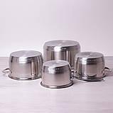 Набор посуды Kamille из нержавеющей стали 8 предметов (ковш 1.8л; кастрюли 2.3л, 3.3л, 5.5л), фото 2