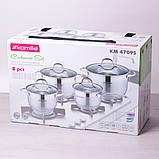 Набор посуды Kamille из нержавеющей стали 8 предметов (ковш 1.8л; кастрюли 2.3л, 3.3л, 5.5л), фото 4