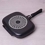 Сковорода-гриль Kamille 32*24*7см двухсторонняя с антипригарным покрытием, фото 2