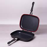 Сковорода-гриль Kamille 32*24*7см двухсторонняя с антипригарным покрытием, фото 3