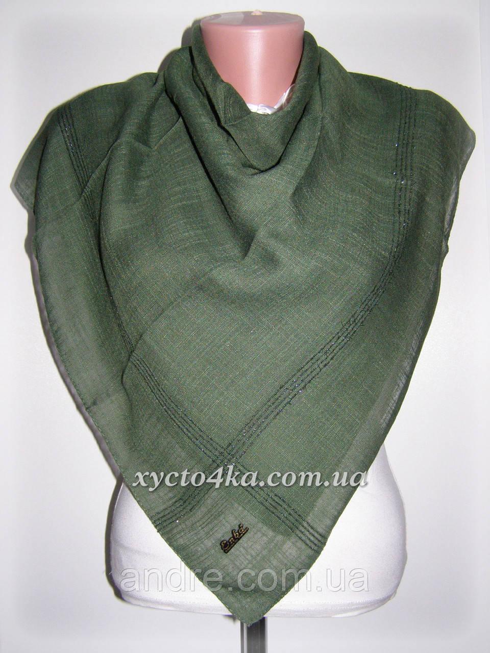 Натуральные лянные платки Айлин, зелёный 80см