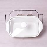 Мармит керамический 1.4л со стеклянной крышкой и металлической подставкой, фото 2