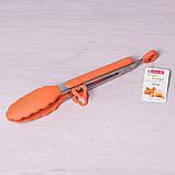 Щипцы силиконовые 23см с ручками из нержавеющей стали, фото 4