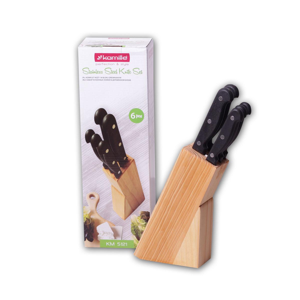 Набор ножей Kamille 6 предметов из нержавеющей стали с бакелитовыми ручками