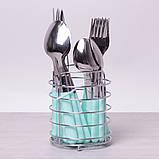 Набор столовых приборов Kamille 24 пр. из нержавеющей стали с пластиковыми ручками и подставкой, фото 3