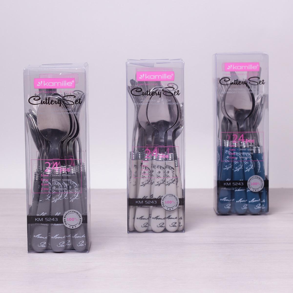 Набор столовых приборов Kamille 24 пр. из нержавеющей стали с пластиковыми ручками