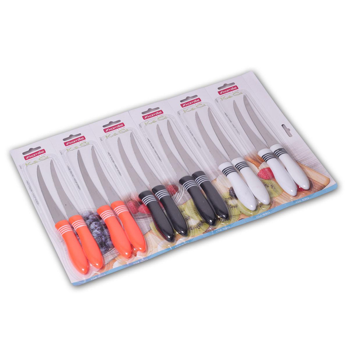 Набор ножей Kamille 12шт из нержавеющей стали с пластиковыми ручками