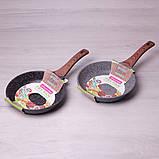"""Сковорода Kamille 24см из литого алюминия с антипригарным покрытием """"гранит"""" и ручкой """"под дерево"""", фото 2"""