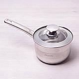 Ковш Kamille 1.9л из нержавеющей стали со стеклянной крышкой, фото 4