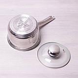 Ковш Kamille 1.9л из нержавеющей стали со стеклянной крышкой, фото 6