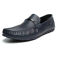 Летние мокасины кожаные синие с перфорацией мужская обувь Rosso Avangard ETHEREAL Cross Sapphire Leather, фото 1