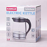 Чайник электрический Kamille 1.8л с синей LED подсветкой и стальными декоративными вставками, фото 5