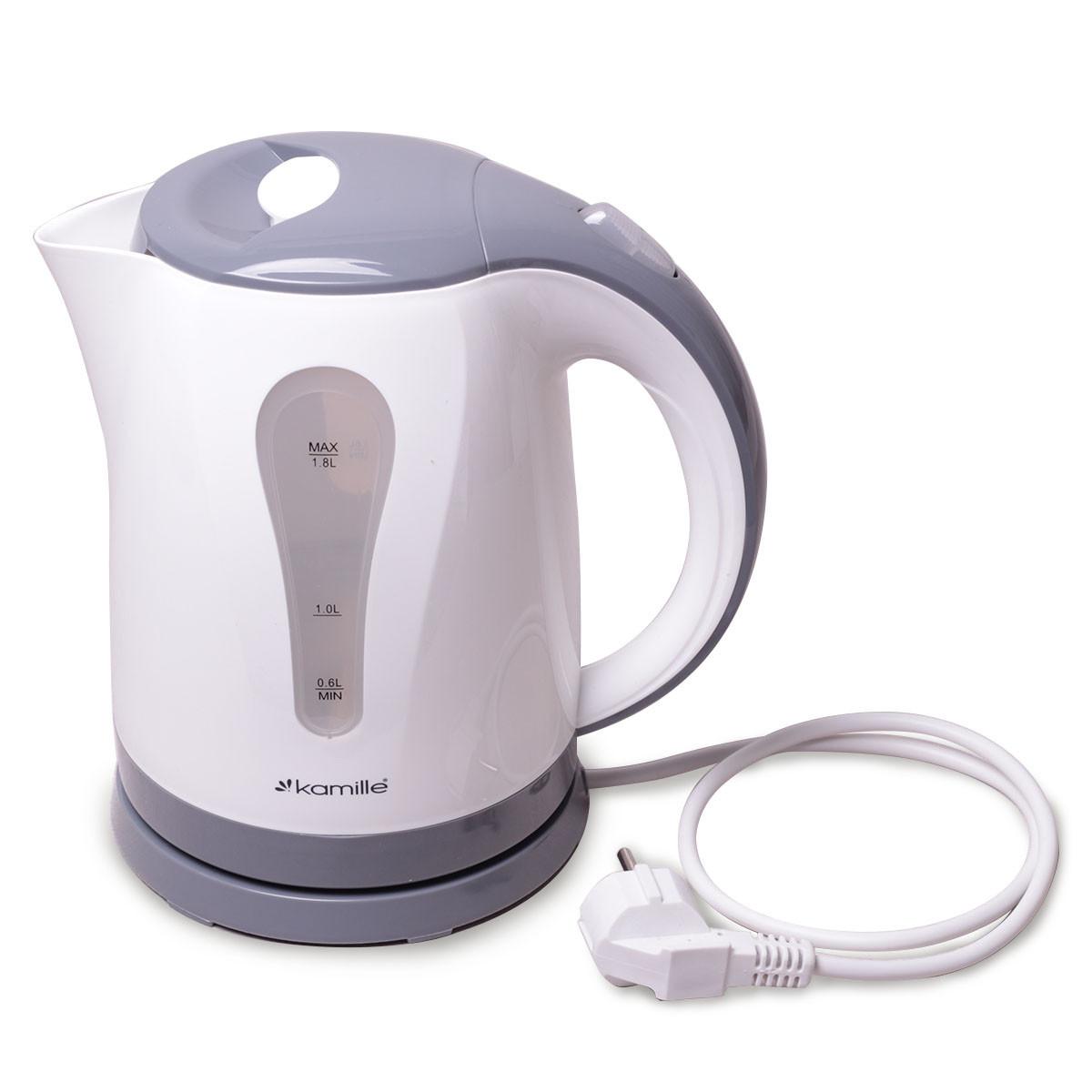 Чайник электрический Kamille 1.8л пластиковый (белый с серым)