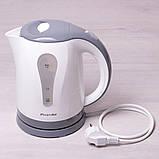 Чайник электрический Kamille 1.8л пластиковый (белый с серым), фото 3