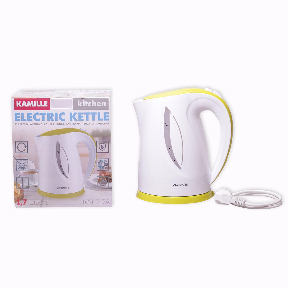 Чайник электрический Kamille 1.7л пластиковый (белый с салатовым)