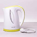 Чайник электрический Kamille 1.7л пластиковый (белый с салатовым), фото 2