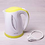 Чайник электрический Kamille 1.7л пластиковый (белый с салатовым), фото 3