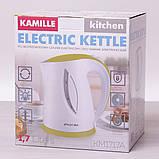 Чайник электрический Kamille 1.7л пластиковый (белый с салатовым), фото 5