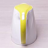 Чайник электрический Kamille 1.7л пластиковый (белый с салатовым), фото 7