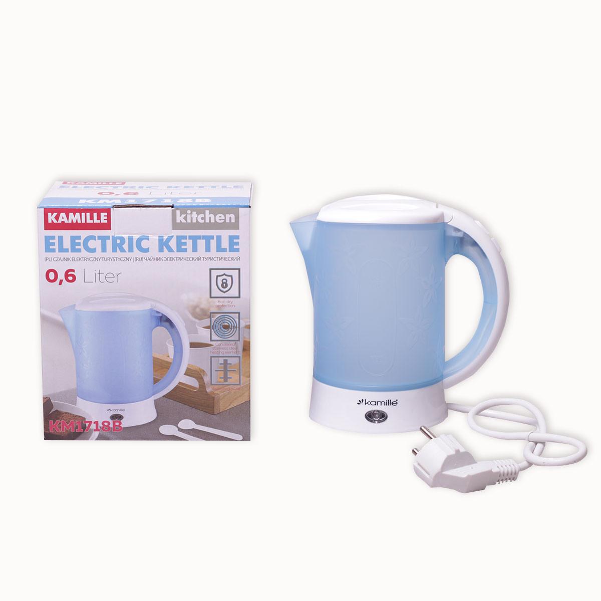 Чайник электрический Kamille 0.6л пластиковый (белый/голубой c чашками и ложками)