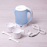 Чайник электрический Kamille 0.6л пластиковый (белый/голубой c чашками и ложками), фото 2