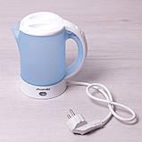 Чайник электрический Kamille 0.6л пластиковый (белый/голубой c чашками и ложками), фото 3