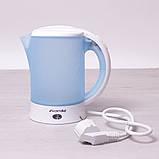Чайник электрический Kamille 0.6л пластиковый (белый/голубой c чашками и ложками), фото 4