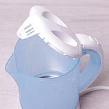 Чайник электрический Kamille 0.6л пластиковый (белый/голубой c чашками и ложками), фото 7