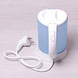 Чайник электрический Kamille 0.6л пластиковый (белый/голубой c чашками и ложками), фото 8
