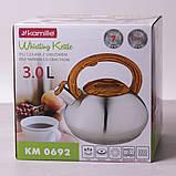 Чайник Kamille 3л из нержавеющей стали со свистком, фото 7