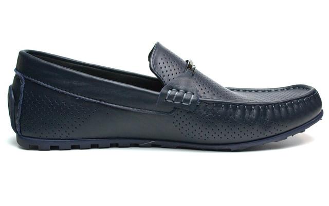 Летние мокасины кожаные синие с перфорацией мужская обувь Rosso Avangard ETHEREAL Cross Sapphire Leather