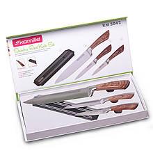 Набор кухонных ножей Kamille 4 предмета в подарочной упаковке (3 ножа+магнитный держатель)