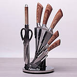 Набір кухонних ножів, ножиці і точилка Kamille 8 предметів на акриловій підставці, фото 3