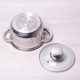 Кастрюля Kamille 2.1л из нержавеющей стали с крышкой и полыми ручками, фото 5