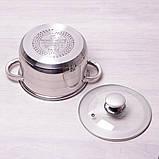 Кастрюля Kamille 3.9л из нержавеющей стали с крышкой и полыми ручками, фото 5