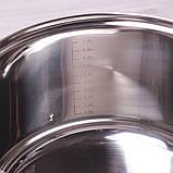 Кастрюля Kamille 6.5л из нержавеющей стали с крышкой и полыми ручками, фото 5