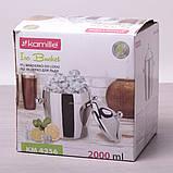 Ведро для льда с крышкой Kamille 2л из нержавеющей стали с двумя ручками, фото 5