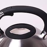 Чайник Kamille 3л из нержавеющей стали со свистком, фото 4