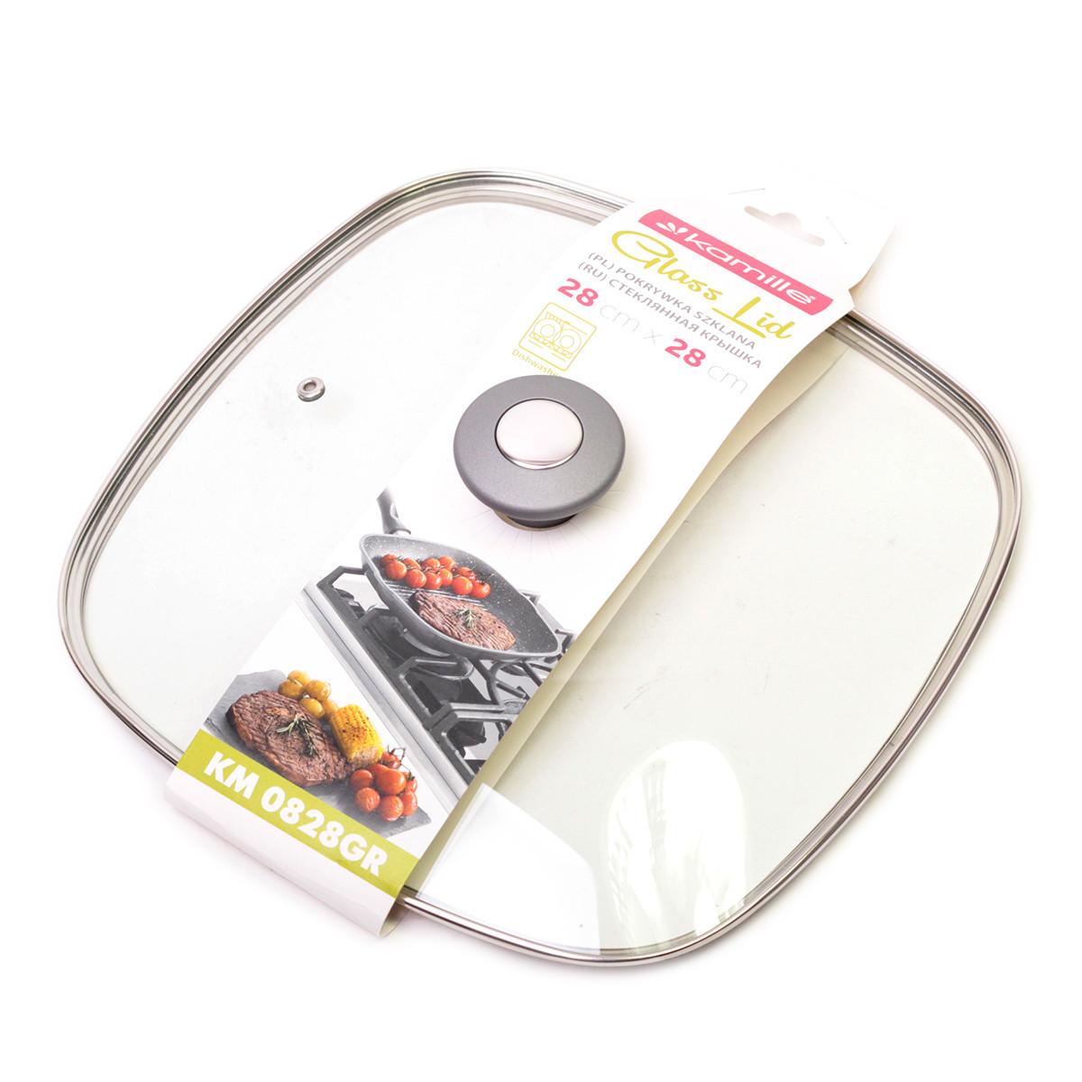 Крышка стеклянная квадратная Kamille 28см с металлическим ободком