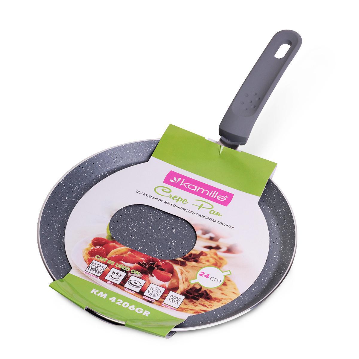 Сковорода блинная Kamille 24см с гранитным покрытием