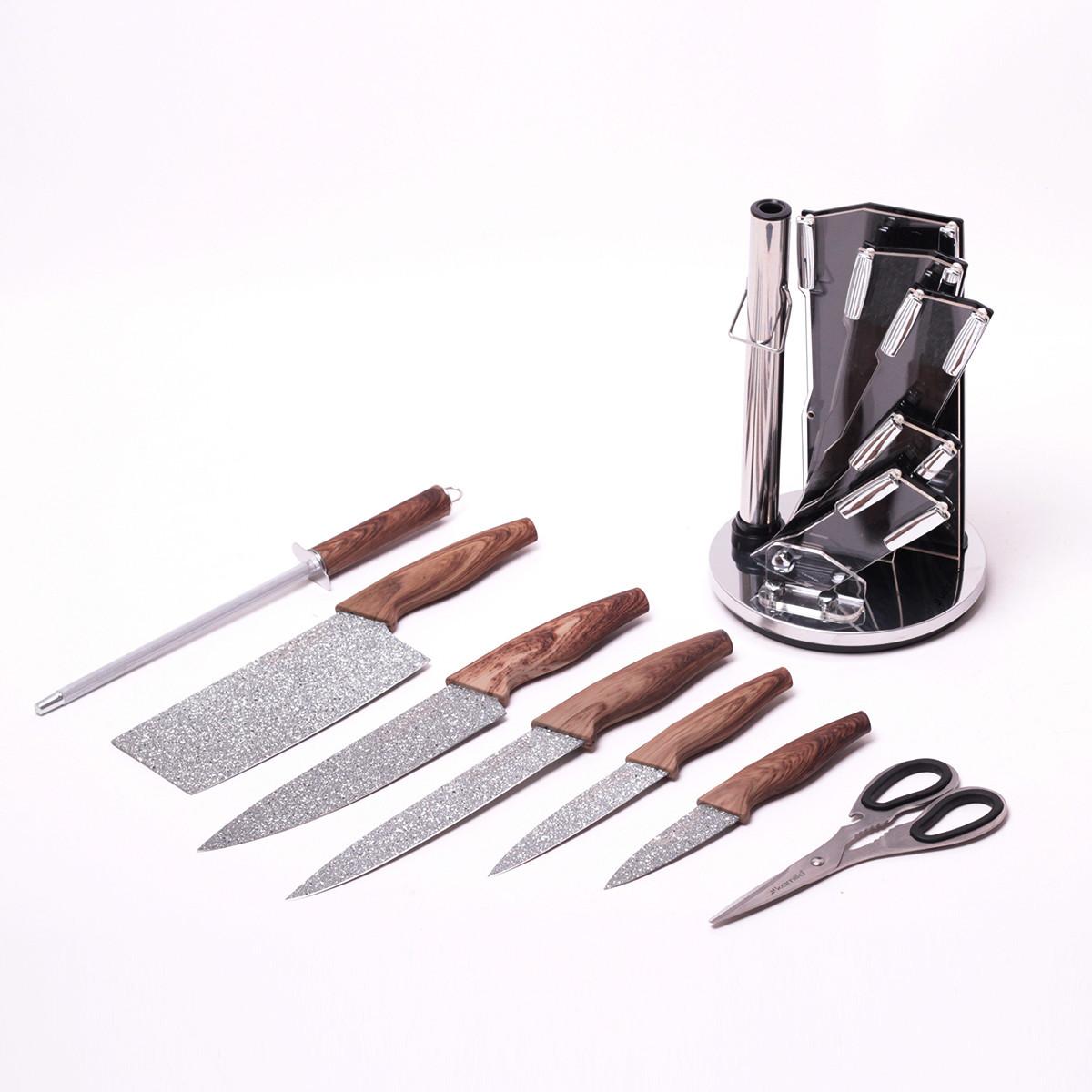 Набор кухонных ножей и ножницы на акриловой подставке 8 предметов (5 ножей+ножицы+точилка+подставка)