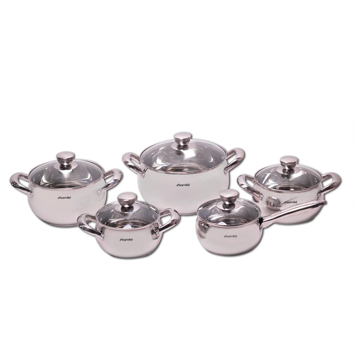 Набор посуды 10 предметов (2.1л, 2.9л, 4.1л, 6.7л, ковш 2.1л) из нержавеющей стали