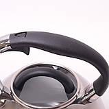 Чайник 3л из нержавеющей стали со свистком и черной бакелитовой ручкой, фото 3