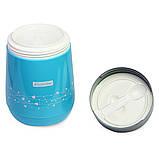 Термос пищевой 1400мл пластиковый со стеклянной колбой и 2 емкостями (розовый, голубой, зелёный), фото 5