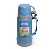 Термос 1000мл пластиковый со стеклянной колбой (2 чашки; синий, голубой, зелёный), фото 2