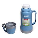 Термос 1000мл пластиковый со стеклянной колбой (2 чашки; синий, голубой, зелёный), фото 4