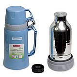 Термос 1000мл пластиковый со стеклянной колбой (2 чашки; синий, голубой, зелёный), фото 8